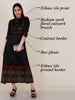 Resham Work Floral Cutwork Brooch Studded Cotton-Satin Kurti