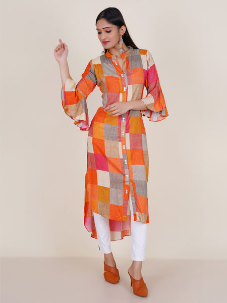 Mother-Pearl Buttoned Chequered Print Asymmetric Kurti