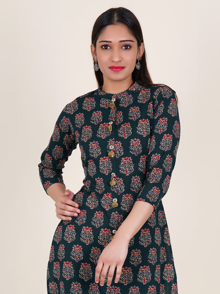 Wooden Buttons With Beads & Pompom Studded Cotton Kurti