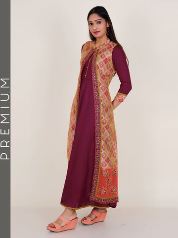 Resham Work Printed Jacket & Floral Buttoned Kurti - Wine Red