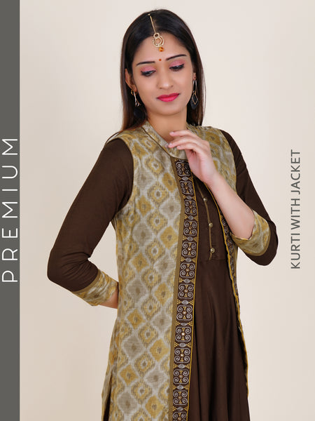 Resham Work Printed Jacket & Floral Buttoned Flared Kurti - Coffee Brown