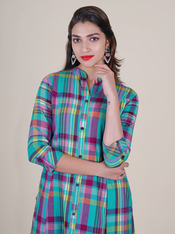 Chequered Kurti with Coconut Shell Buttons - Sea Green