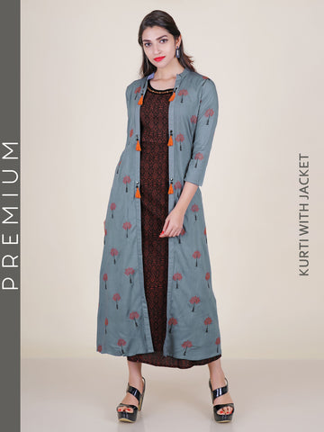 All Over Printed Kurti with Embroidered Long Jacket