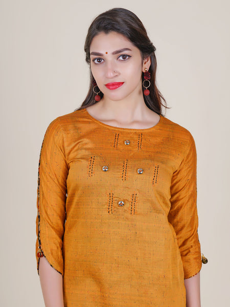 Textured Solid Kurti with Printed Sharara Pants