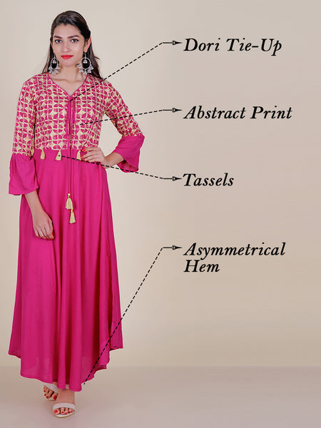 Abstract Printed Flared Kurti with Tassels