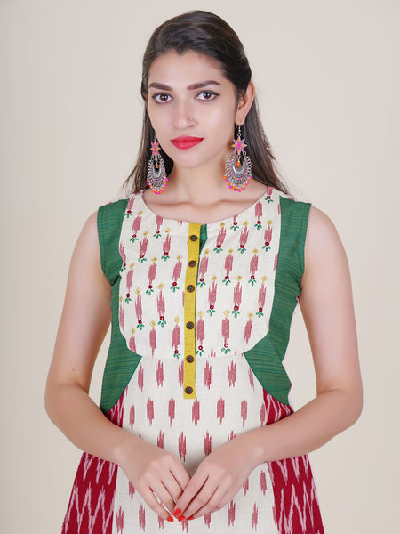 Foil Mirror, Resham & Sequins Work Ikkat Print Cotton Kurti - Off-White