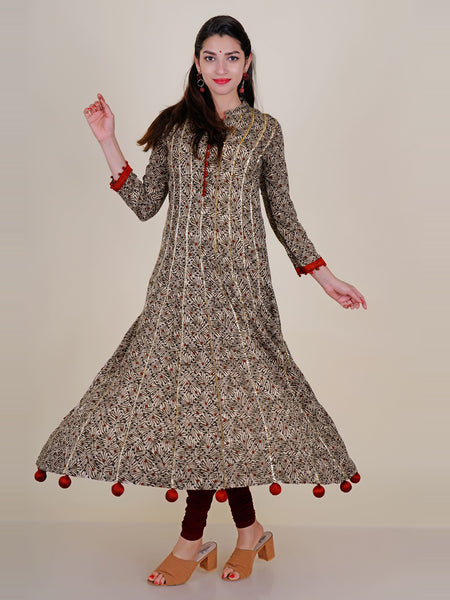 Gota Temple Border Work Potli Latkan Embellished Printed Cotton Kurti