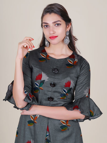Embossed Flower Buttoned Floral Cotton-Satin Kurti - Grey