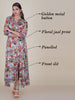 Golden Metal Buttoned Floral Printed Cotton Kurti