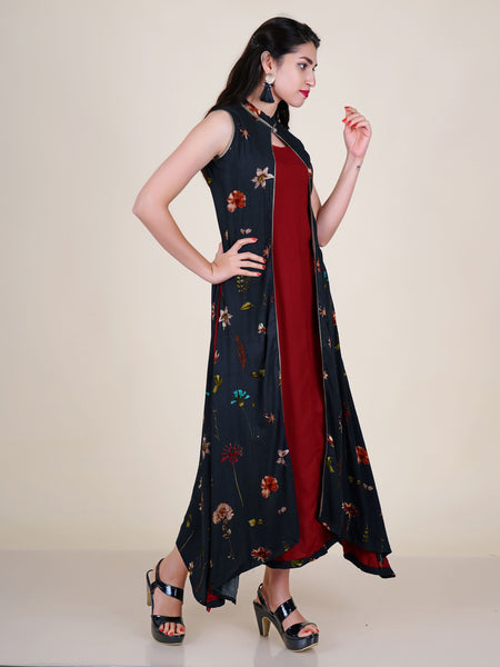 Resham & Crystal Work Jacket Style Layered Floral Print Kurti - Navy Blue