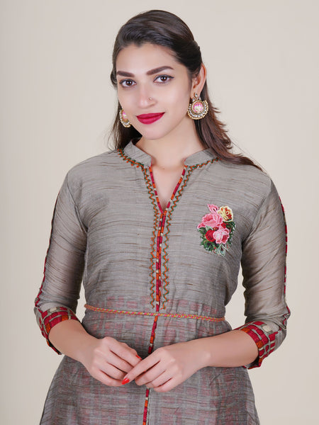 Tasseled & Beaded Dori Belt With Resham Work Double Layered Kurti - Ivory Grey