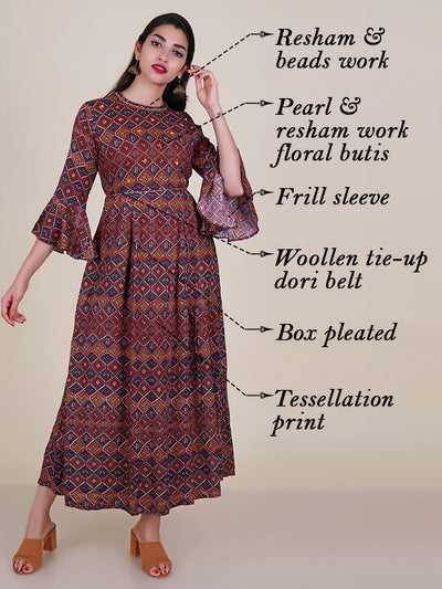 Tasseled Dori Belt With Resham & Pearl Work Pleated Kurti