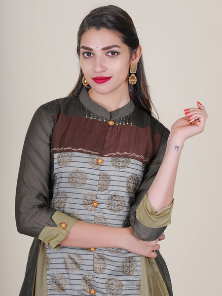 Resham & Beads Work Golden Embossed Chanderi Kurti