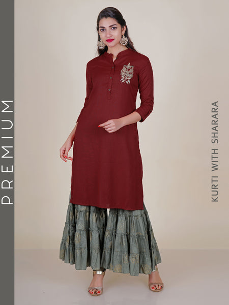 Resham & Zari Work Kurti With Golden Khadi Printed Sharara Set
