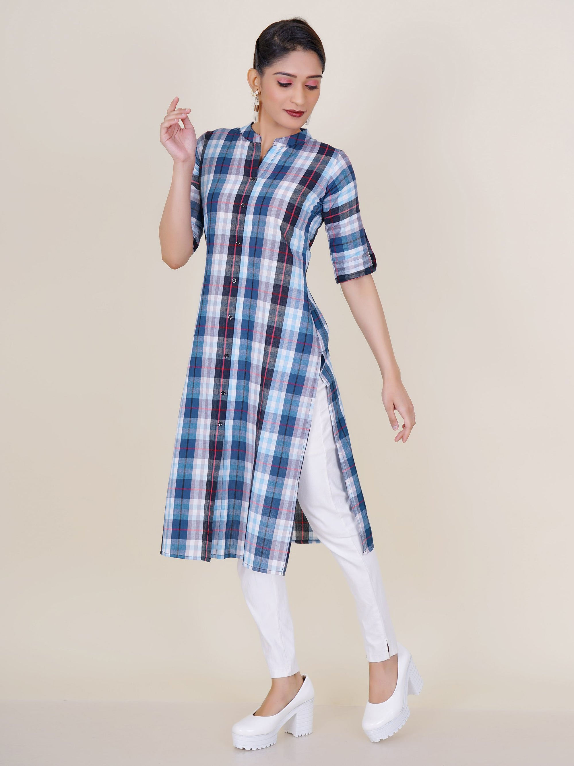 Stand Collar Designs For Kurti : Blue white plaids kurti fashor