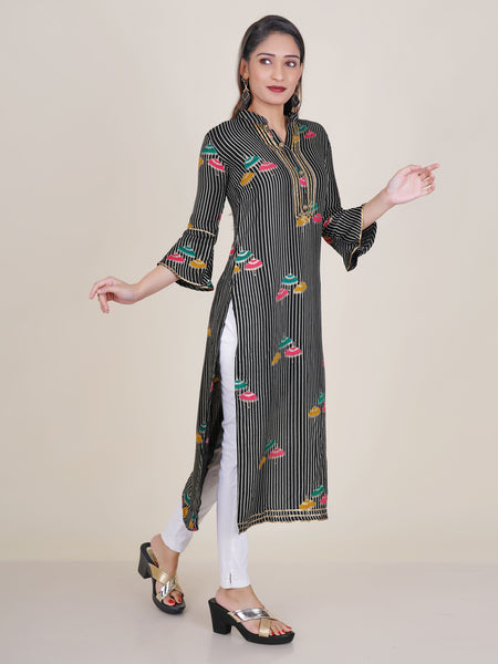 Crystal Buttoned Gota Lace Work Parasol Printed Kurti