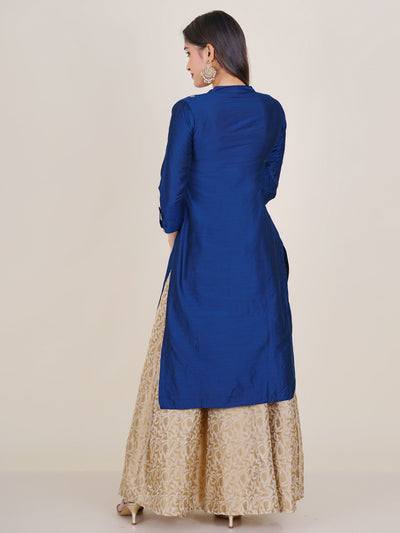 Golden Floral Buti Embroidered Kurti - Royal Blue