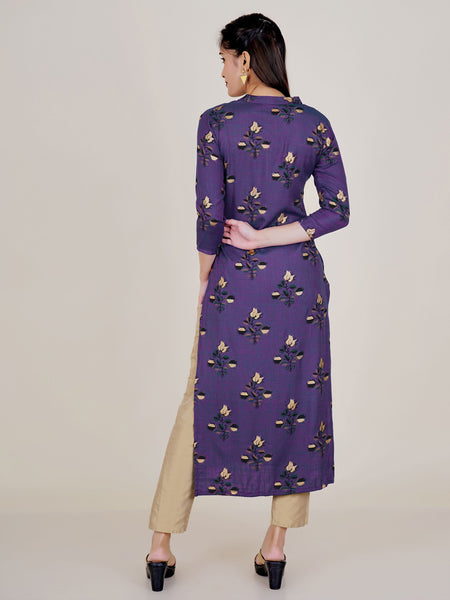 Abstract Rose Buta Golden Khadi Printed Two-Toned Kurti – Purple