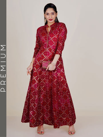Golden Foil & Chunri Printed Kota Anarkali- Red