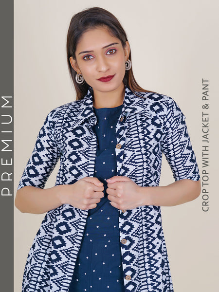 Polka Dotted Crop Top & Pant with Geometric Printed Jacket Set - Dark Blue