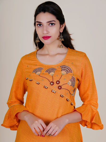 Resham, Zari & Foil Mirror Work Two-Toned Kurti