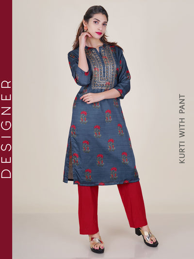 Zari & Sequins Work Floral Kurti & Pant Set - Steel Grey