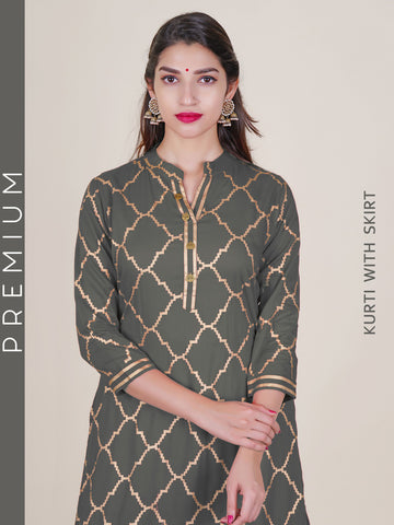 Golden Foil Printed Kurti & Tiered Skirt Set - Grey