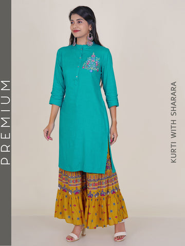 Resham Floral Work Kurti & Printed Sharara Set