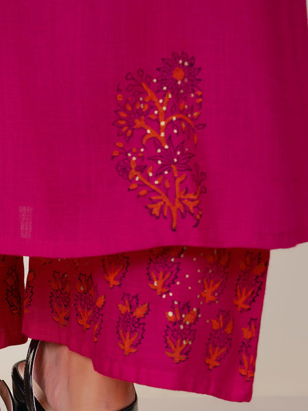 Sequins Work  Block Printed Kurti & Pant Set