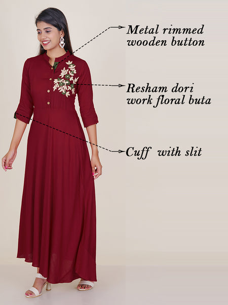 Floral Resham Dori Work Flared Kurti - Dark Red