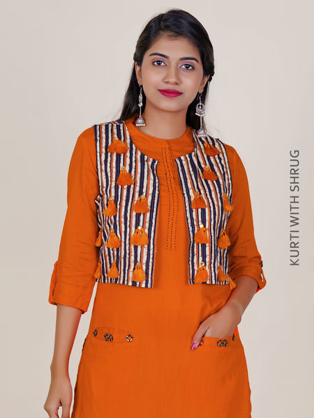 Kurti with Foil Mirror & Tasseled Work Shrug