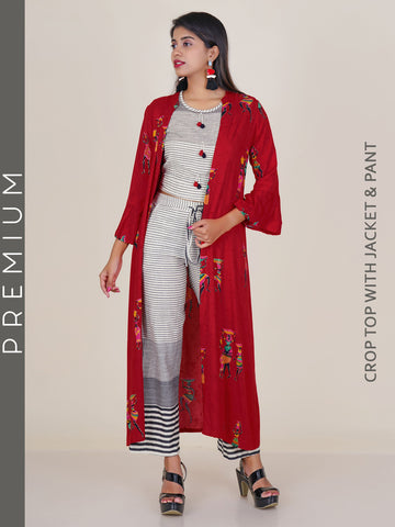 Striped Crop Top & Pants With Foil Printed Tribal Women Motif Jacket Set - Red