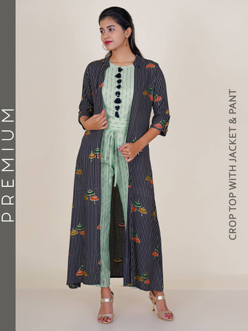 Beads & Tasseled Striped Cotton Crop Top & Pants With Parasol Print Jacket Set