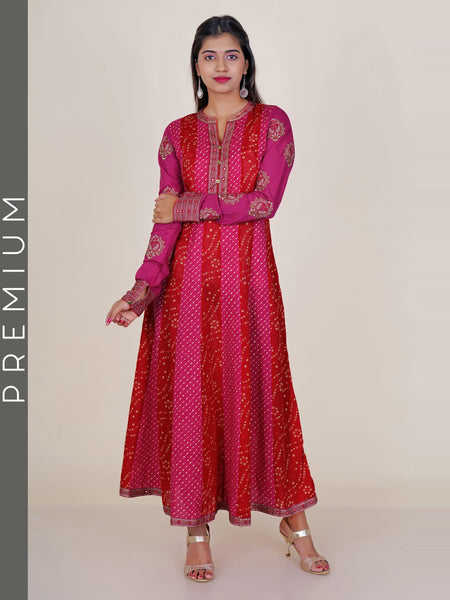 Resham & Foil Mirror Work Chunri & Lehriya Print Cotton Kurti - Red