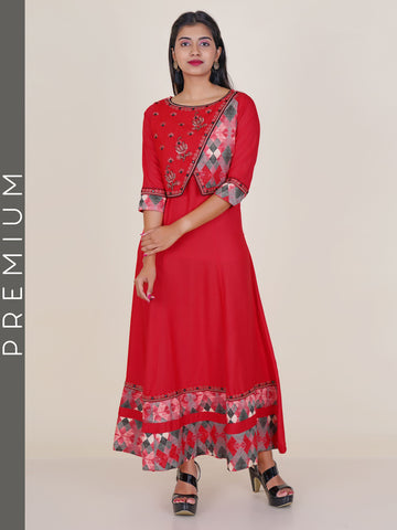 Resham, Foil Mirror & beads Work Stitched Shrug With Flared Kurti – Red