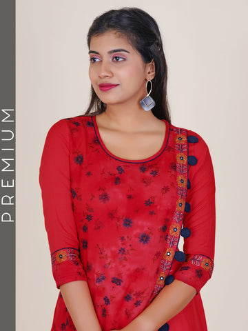 Resham & Foil Mirror Work Floral Print Double Layered Kurti - Red