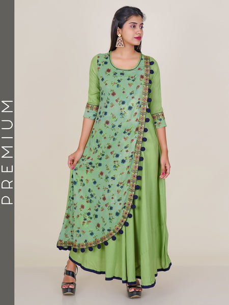 Resham & Foil Mirror Work Floral Print Double Layered Kurti - Lime Green