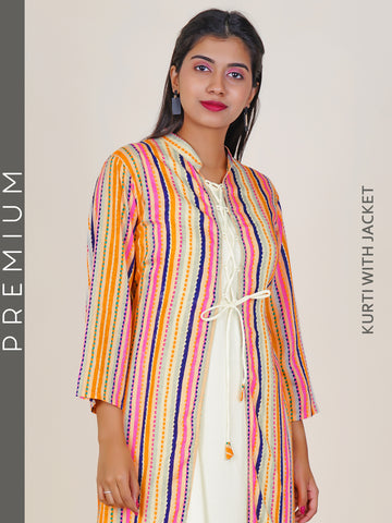 Kurti with Criss-Cross Tie-up, Striped Jacket  - Yellow