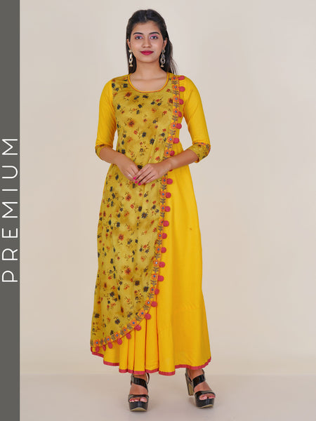 Resham & Foil Mirror Work Floral Print Double Layered Kurti - Yellow