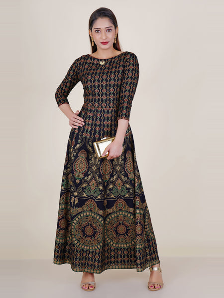 Ethnic Golden Khadi Printed  Kurti studded with Chaand Brooch