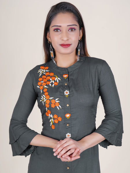 Resham & Zari Work Layered Frill Sleeves Kurti - Dark Grey