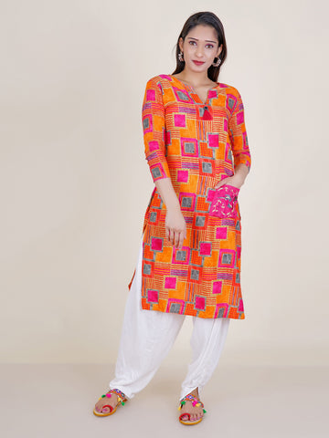 Printed Kurti with Resham Bird Buta Patch Pocket  - Orange