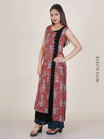 Textured Buttoned Foil Printed Layered Panelled Kurti