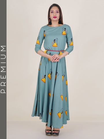 Printed Jacquard Kurti with Beaded & Tasseled Belt