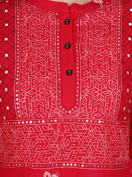 Foil Mirror & Resham Jaal Work Flared Kurti – Red