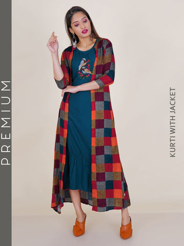 Chequered Jacket With Resham Bird Buta Work Frill Kurti