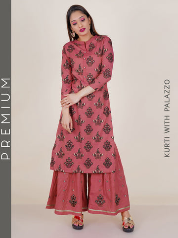 Floral-Peacock Printed Kurti with Foil Mirror & Resham work Sharara set - Pink