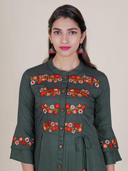 Resham Floral Work Kurti with Frilled Sleeves – Grey
