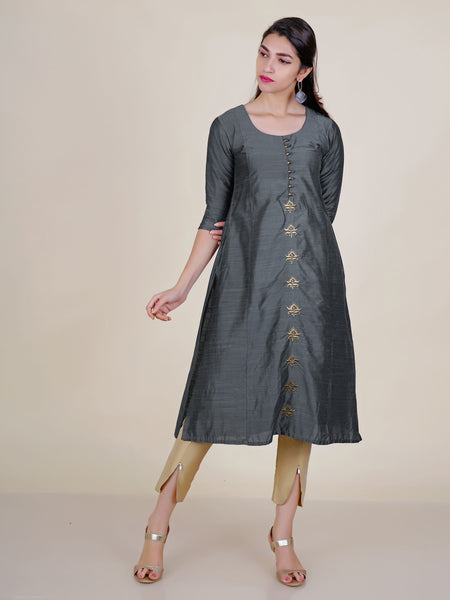Zari Work Art Silk Kurti with Zari Potli Buttons - Steel Grey