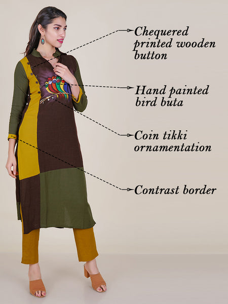 Hand Painted Bird Buta With Coin Tikki Work Cotton Kurti